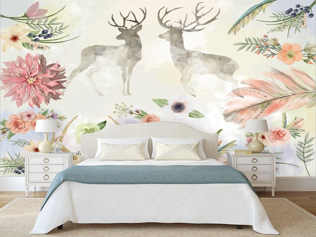 手绘水彩鲜花鹿背景墙