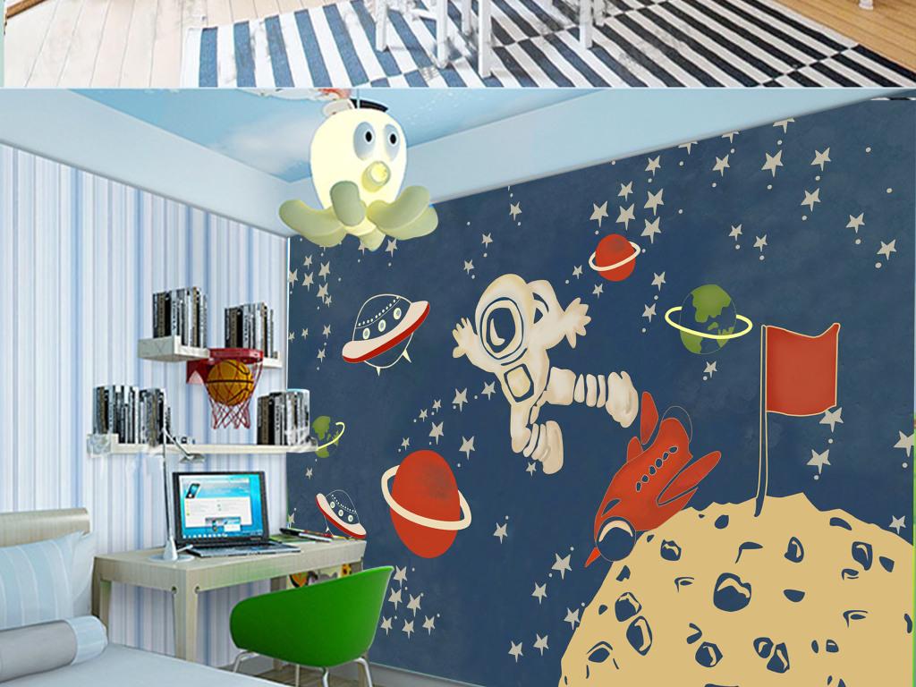 壁画电视背景墙电视墙手绘儿童卡通卧室背太空高清手绘壁纸客厅背景墙