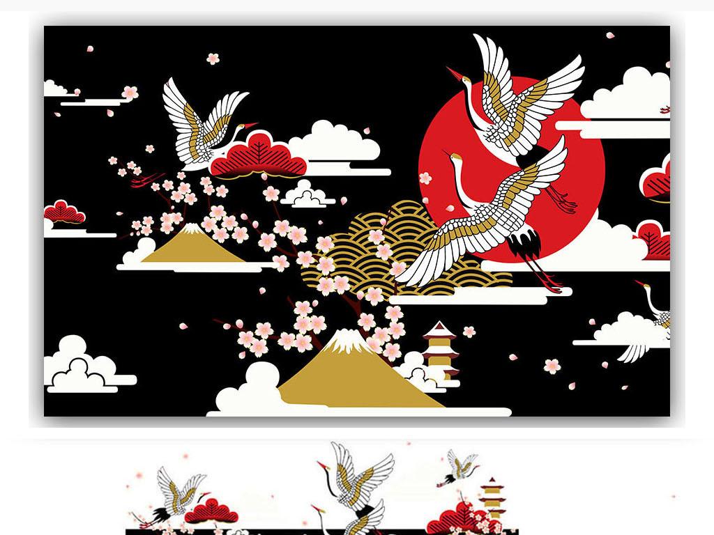 日本仙鹤祥云樱花宝塔背景墙装饰画