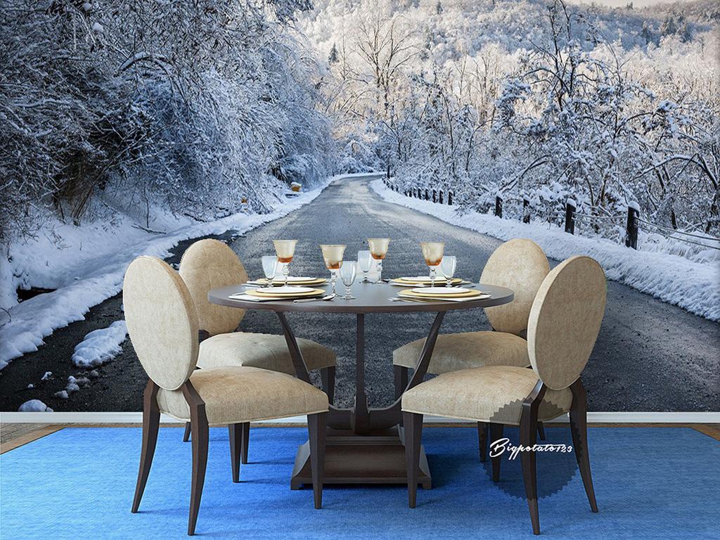 餐厅背景墙                                  手绘风景现代