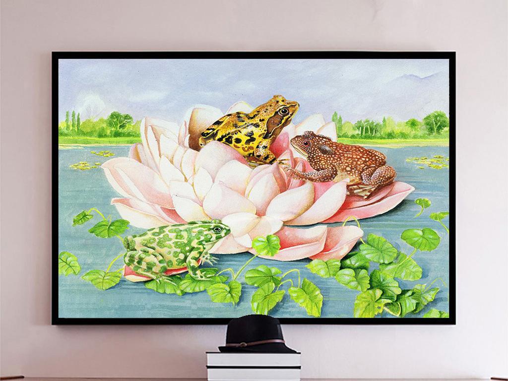 蓝色池塘粉色莲花上黄花青蛙绿色青蛙油画