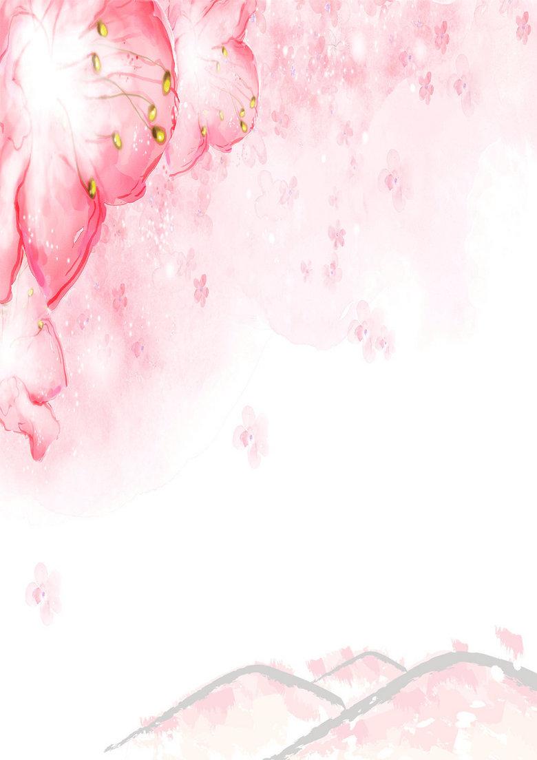 手绘樱花粉红信纸背景