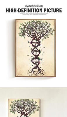 创意抽象梯形大树无框画