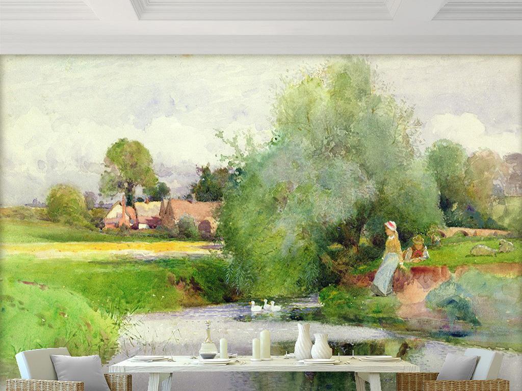 梦幻清新绿色草地大树房子女孩河流风景油画