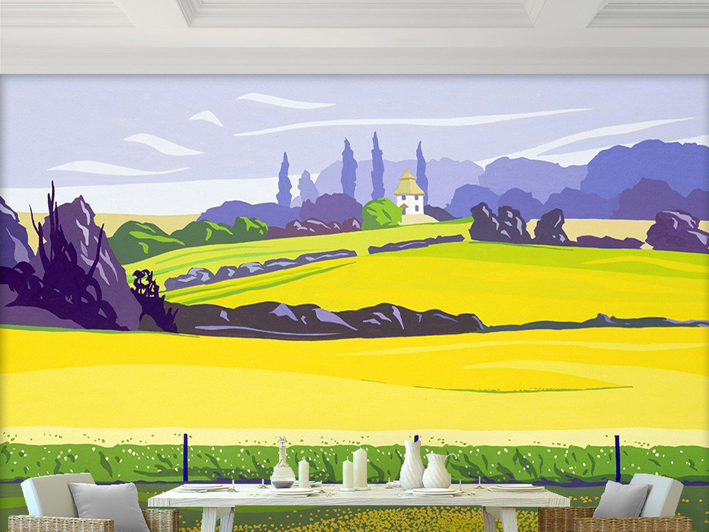 风景现代壁画现代简约手绘花鸟壁画手绘油画高清油画巨幅现代电视背景