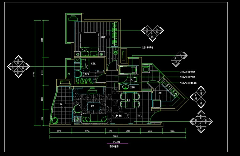 别墅CAD室内设计图平面图下载 图片1.02MB 家装施工CAD图纸大全