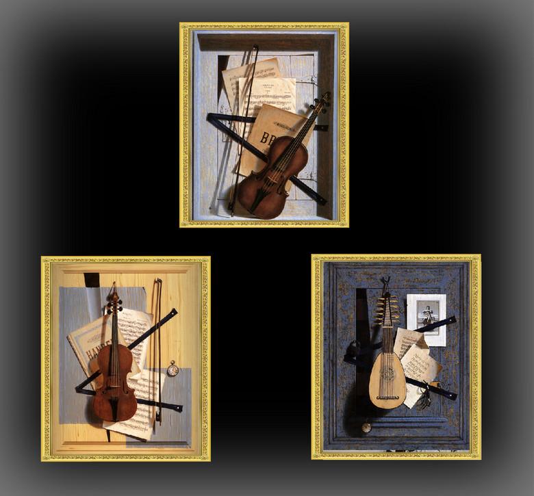 欧美现代风小提琴乐谱静物无框画