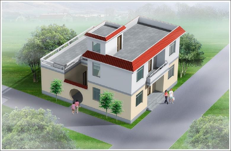 独立院落新农村别墅cad建筑设计图图片