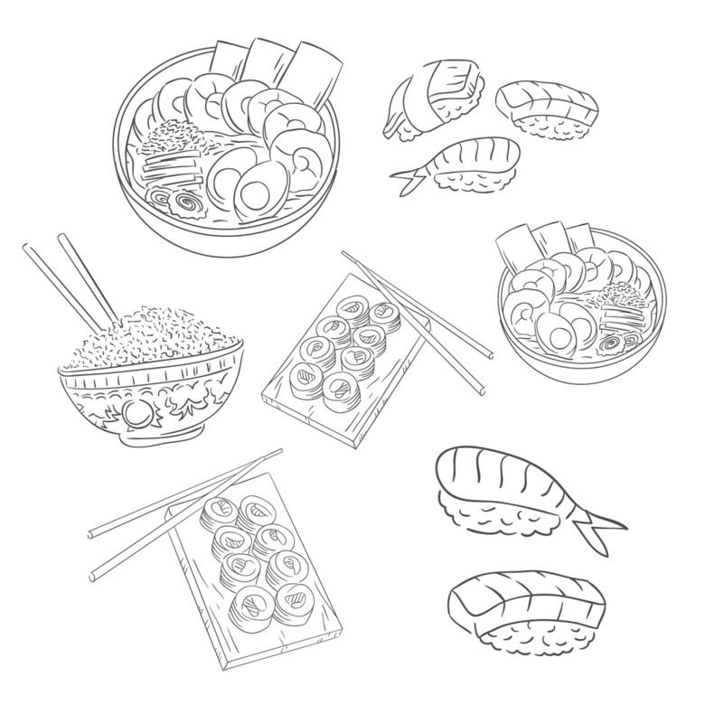 手绘线条中华美食面条米饭食物背景图