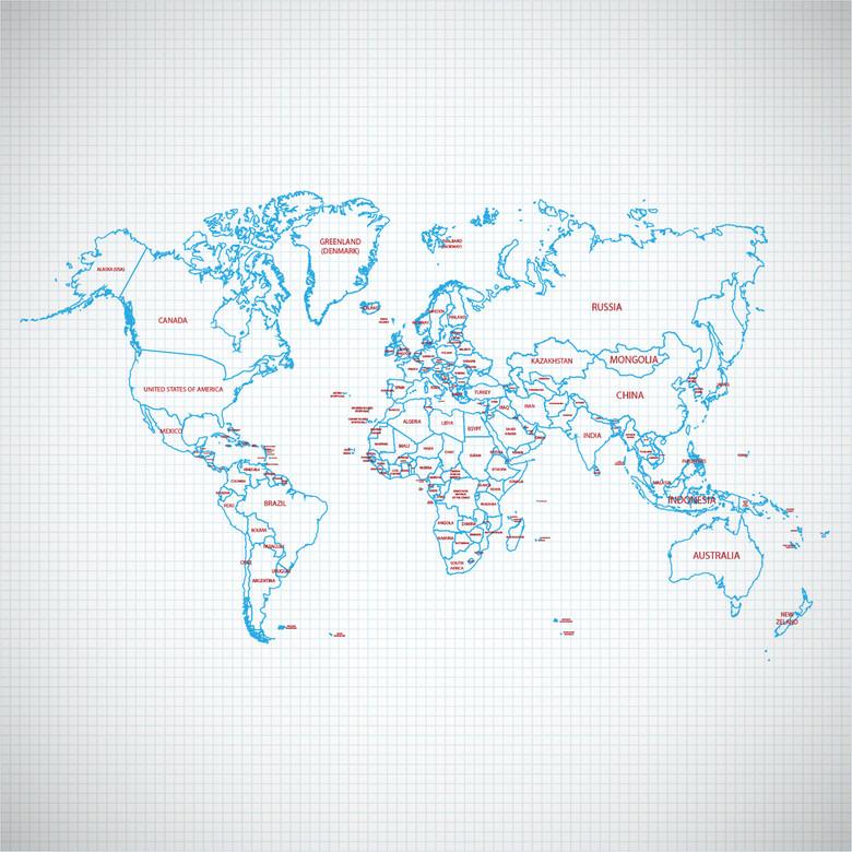 网格蓝色线手绘世界地图