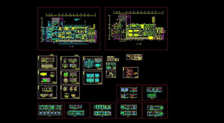 现代茶楼CAD全套平面图图片