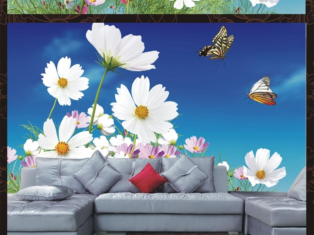 唯美花草树木墙绘背景墙背景图