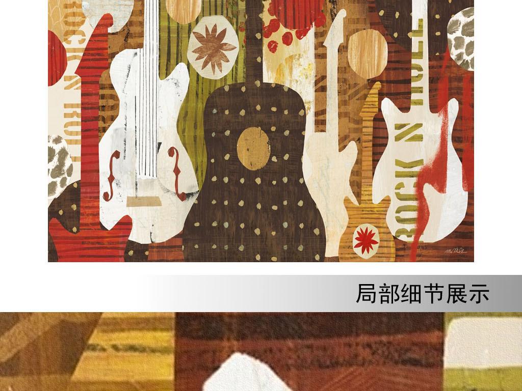 欧美风格手绘抽象乐器贝斯吉他餐饮背景墙