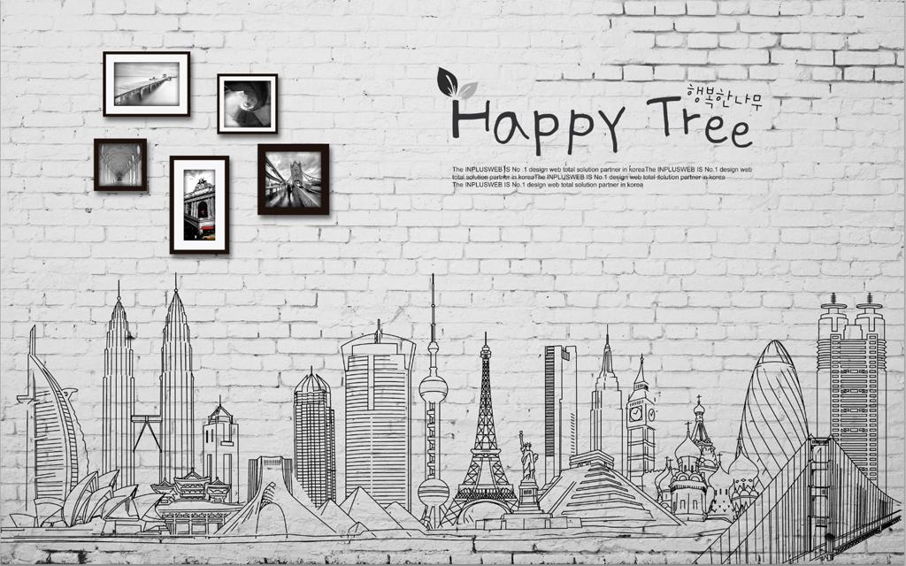 双子塔字母简约现代沙发背景3d背景墙电视背景墙城市城市剪影城市素描