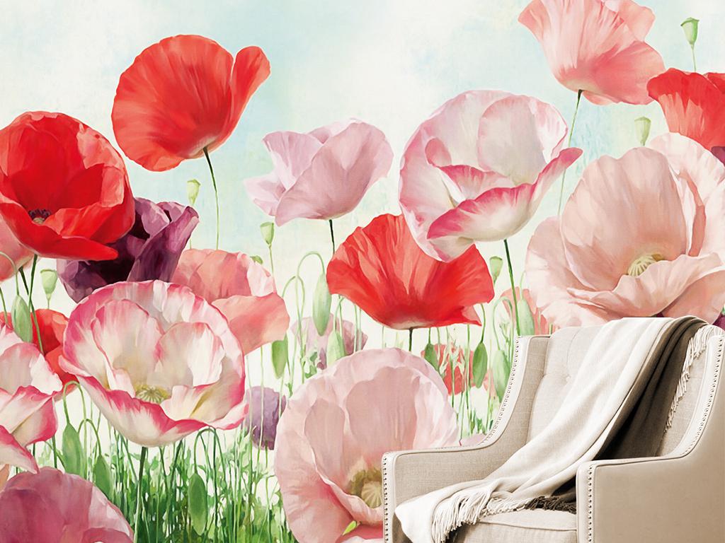 背景墙|装饰画 电视背景墙 油画|立体油画电视背景墙 > 罂粟花花丛