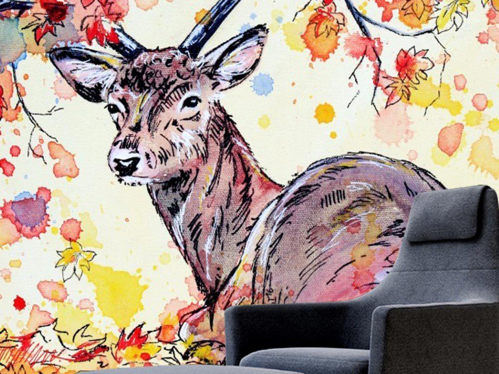手绘动物画鹿炫彩复古花卉梅花鹿鸟树林创意油画玄关油画玄关欧式油画