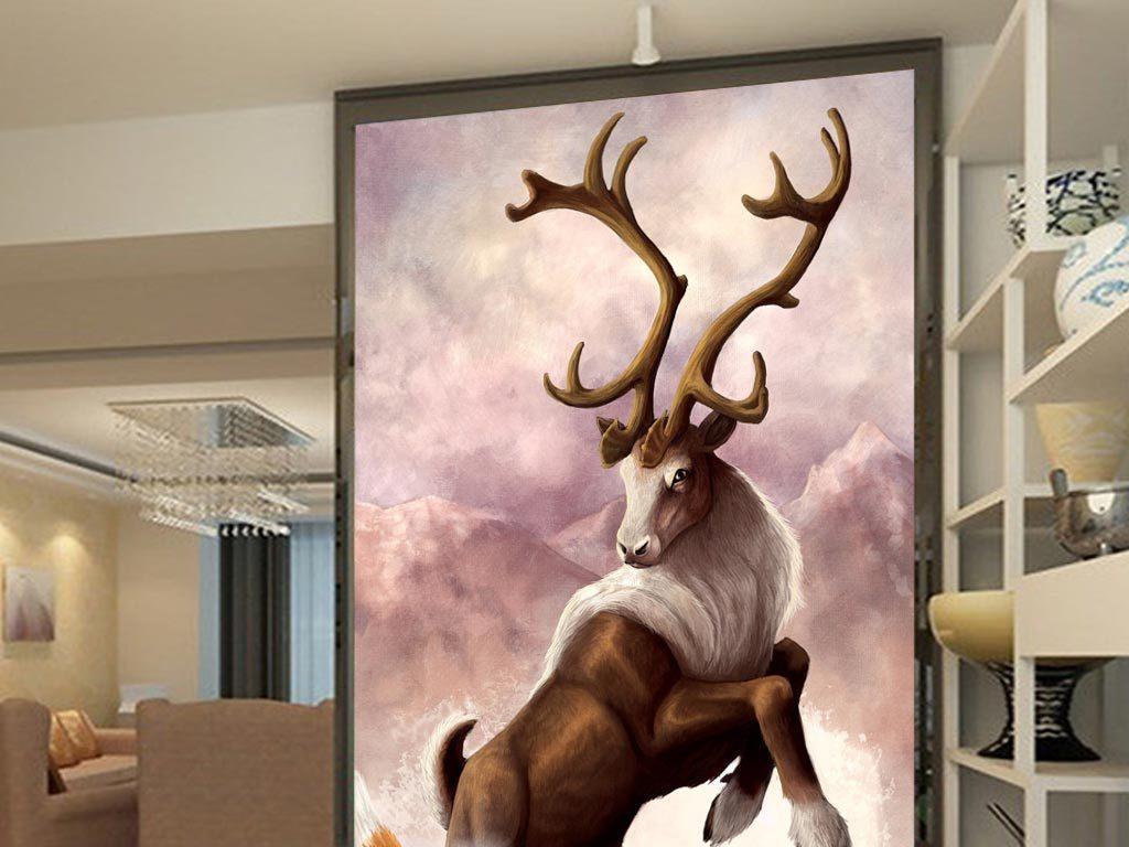 油画圣诞麋鹿手绘麋鹿麋鹿森林森林麋鹿麋鹿装饰画麋鹿背景墙北欧麋鹿
