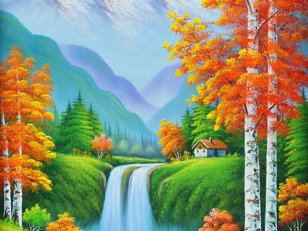 设计作品简介: 纯手绘风景油画红叶夕阳艺术玄关 位图, rgb格式高清
