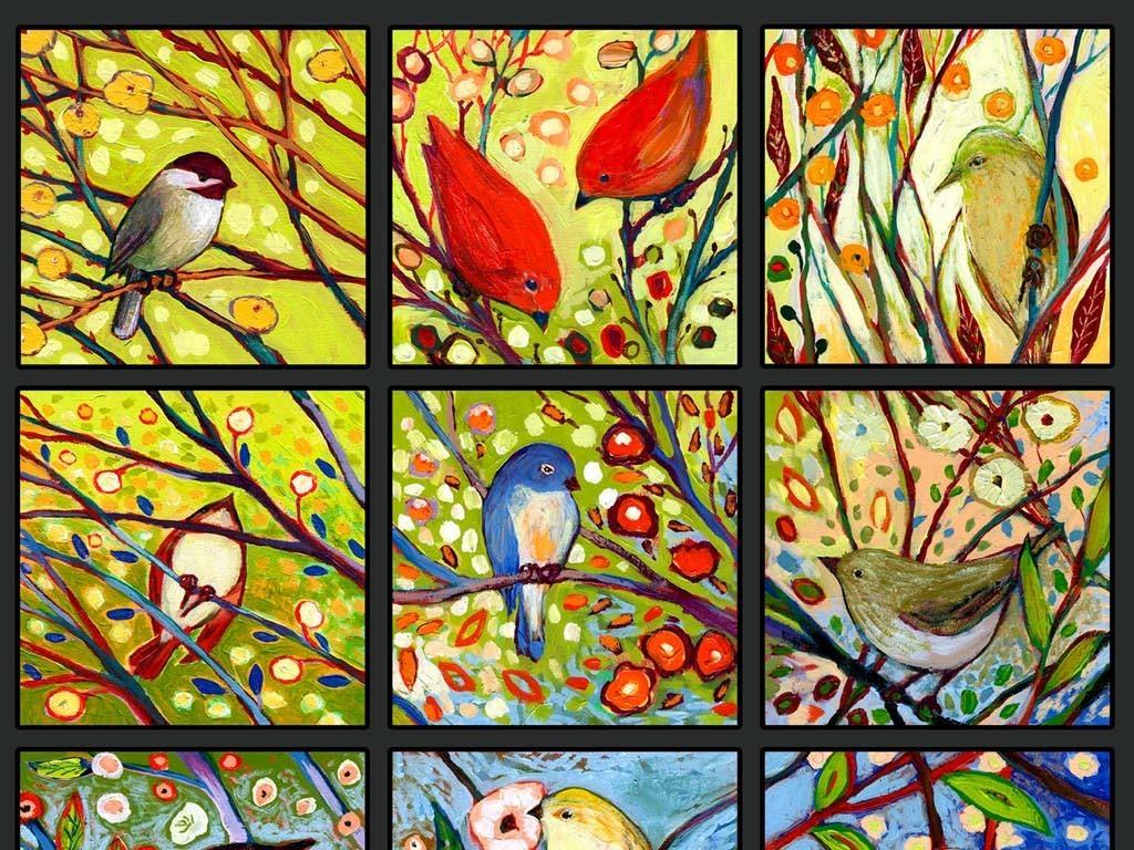 背景墙|装饰画 玄关 油画|立体油画玄关 > 手绘彩色格子树枝小鸟油画