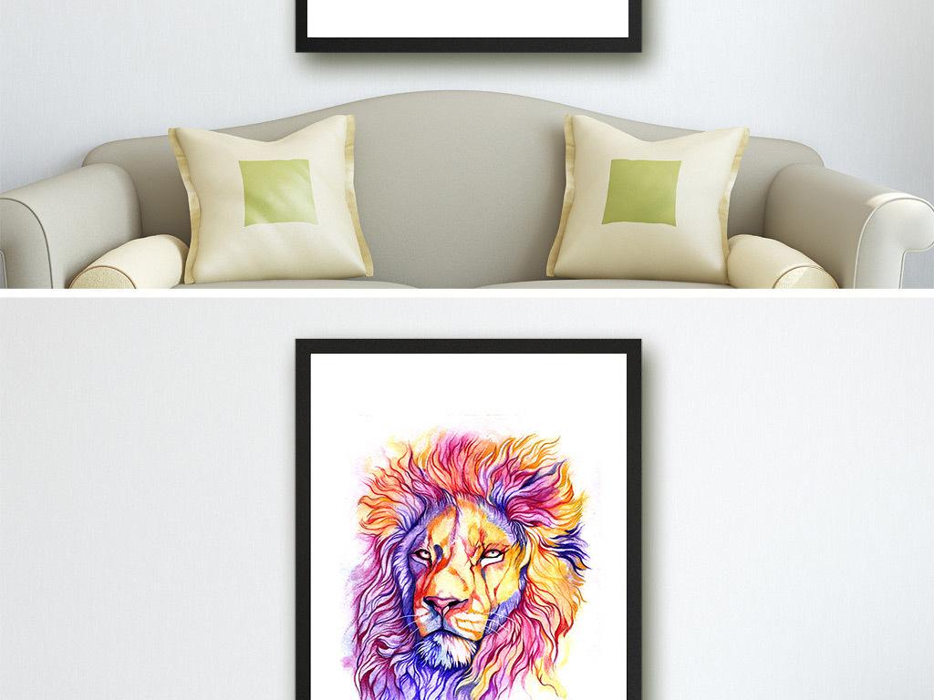 手绘彩色老虎麋鹿狮子无框画