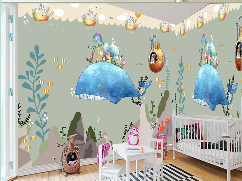 手绘海底世界鲸鱼伙伴背景墙图片设计素材_高清psd(32