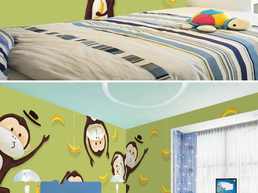 设计作品简介: 高清分层卡通手绘顽皮猴子吃香蕉儿童房壁纸 位图, rgb