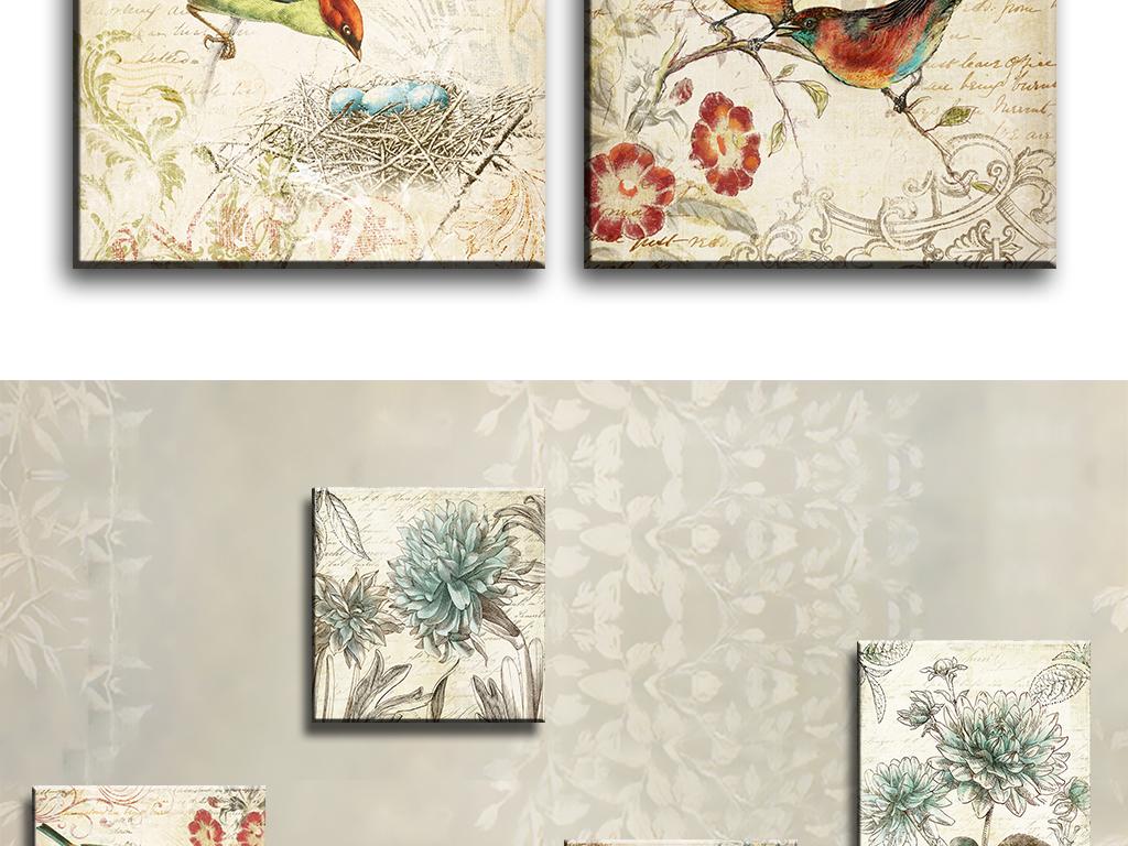 花鸟装饰油画无框画