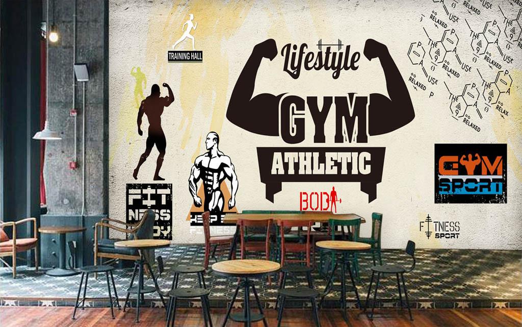 背景墙 电视背景墙 手绘电视背景墙 > 宽幅复古运动健身会所形象墙