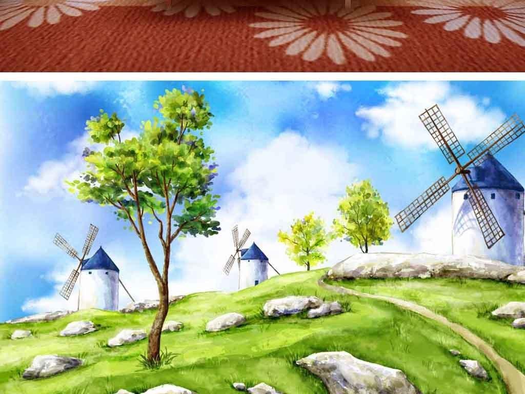 鼠绘背景墙水彩画