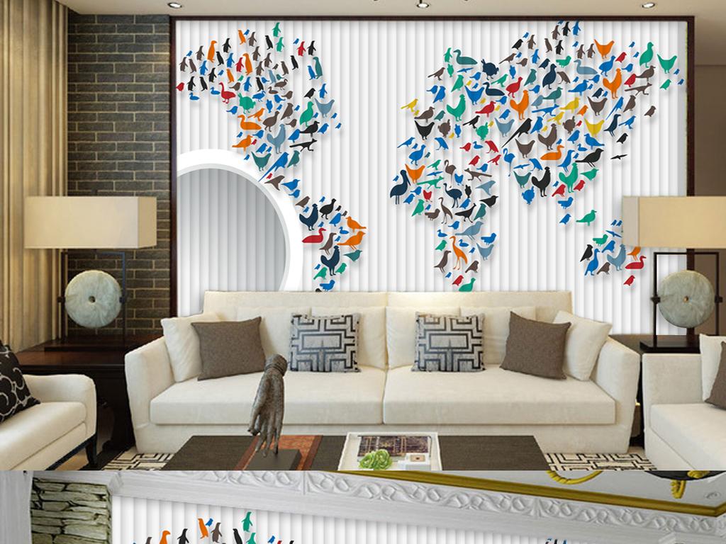 个性怀旧世界地图壁画背景墙