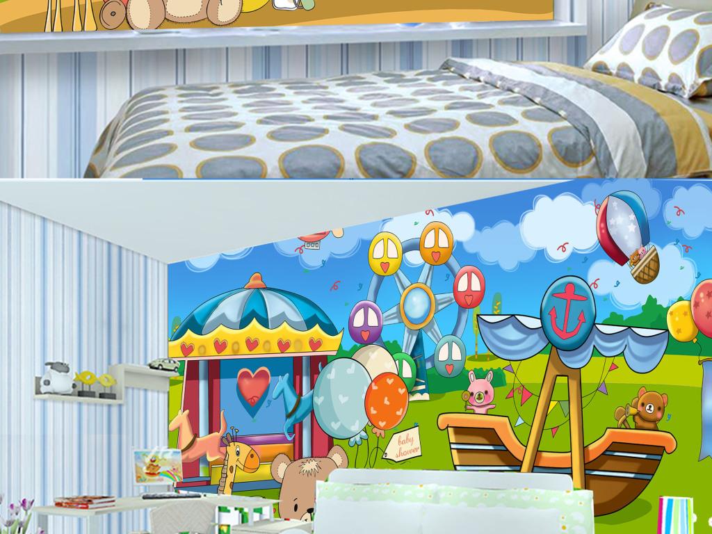 背景墙|装饰画 电视背景墙 电视背景墙 > 手绘卡通动物乐园儿童背景墙