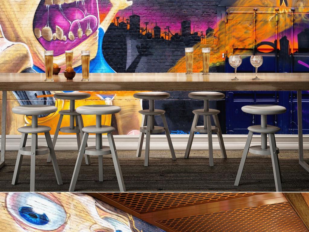手绘涂鸦墙尖叫娃娃酒吧KTV背景墙效果图 14947529 酒吧 KTV装饰背图片