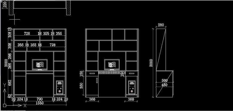电脑桌CAD立面图