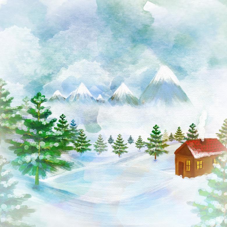 冬天雪景小屋插画松树雪山白色圣诞节