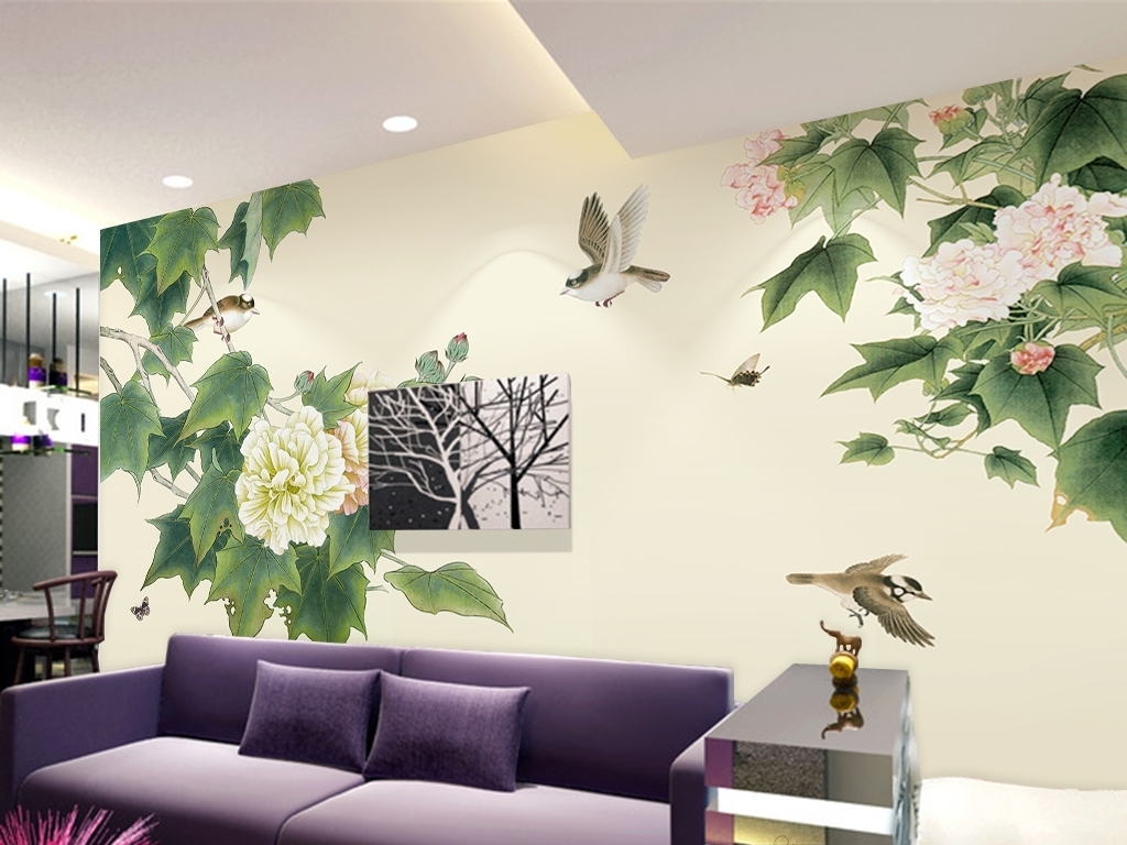 芙蓉花开富贵手绘电视背景墙图片设计素材_高清psd(98