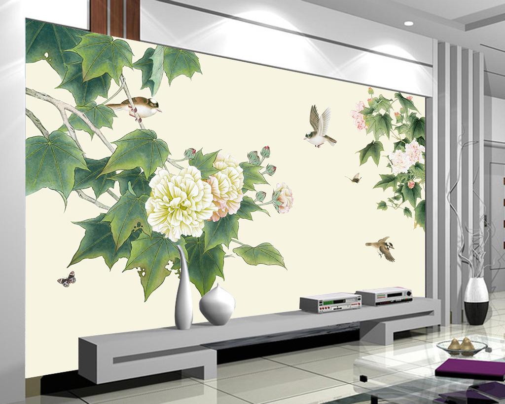 芙蓉花开富贵手绘电视背景墙