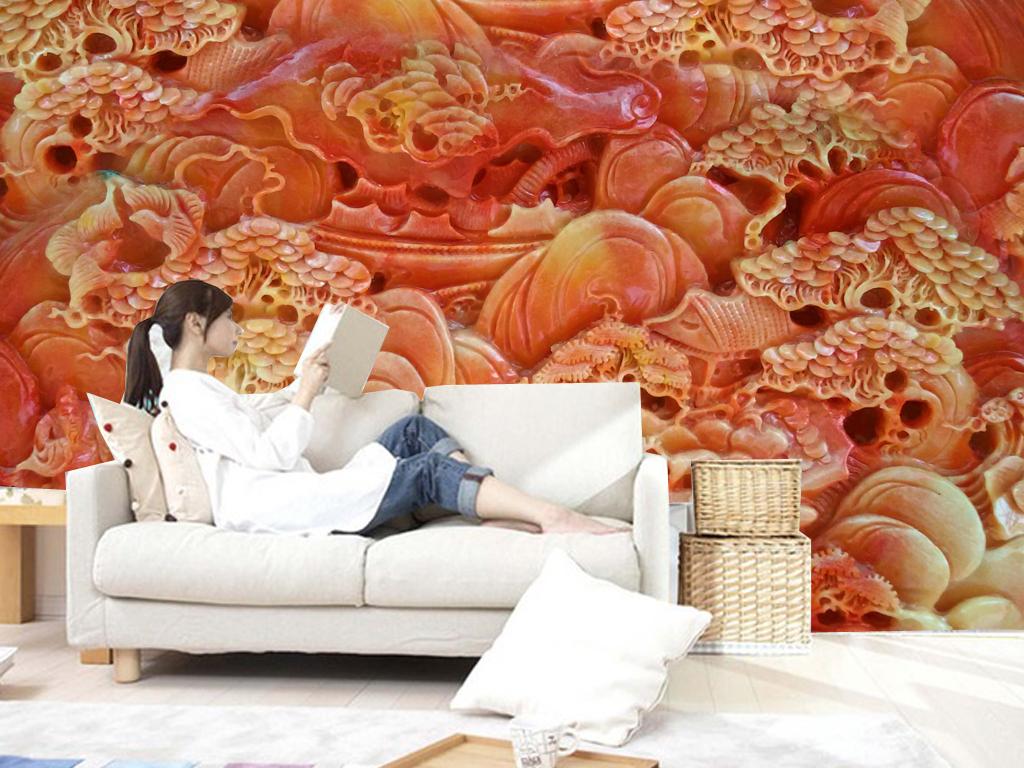 玉雕中式古典山水壁画背景墙效果图 14950748 玉雕电视背景墙效果图