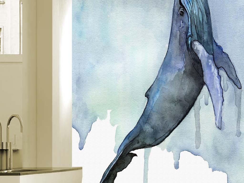 手绘唯美水彩鲸鱼现代玄关背景装饰画