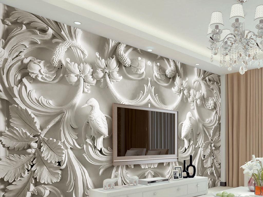 经典白色欧式浮雕3d立体电视背景墙壁画图片