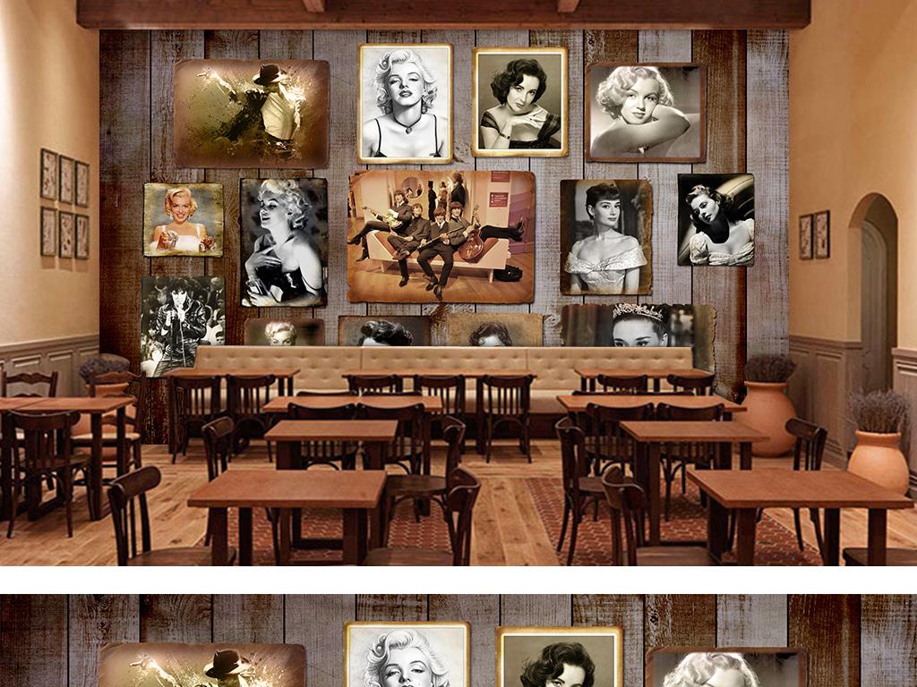复古怀旧木板酒吧餐厅夜店ktv工装背景墙
