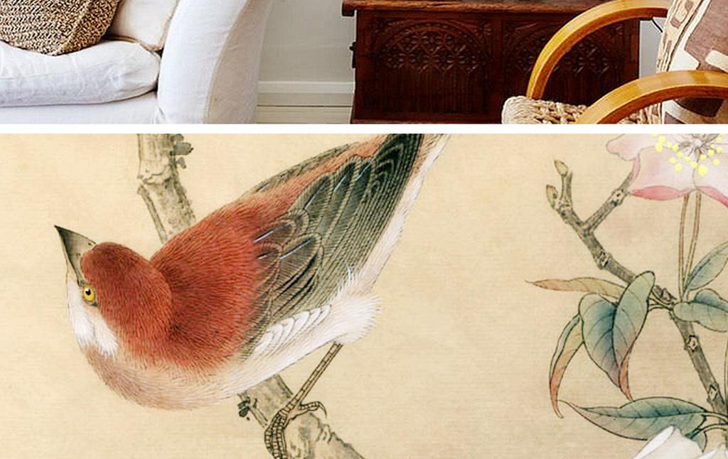 手绘绘画高端新中式中国风家装家居好看无框画国画花鸟画唯美古典新古