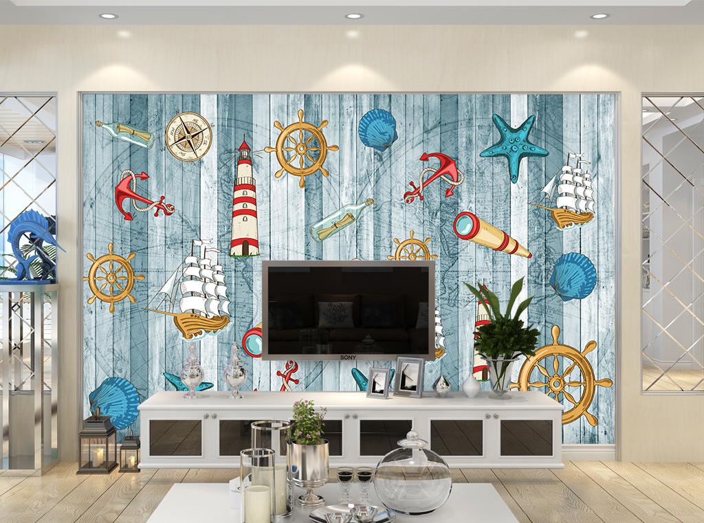 地中海风情壁画背景墙图片设计素材_高清psd模板下载图片