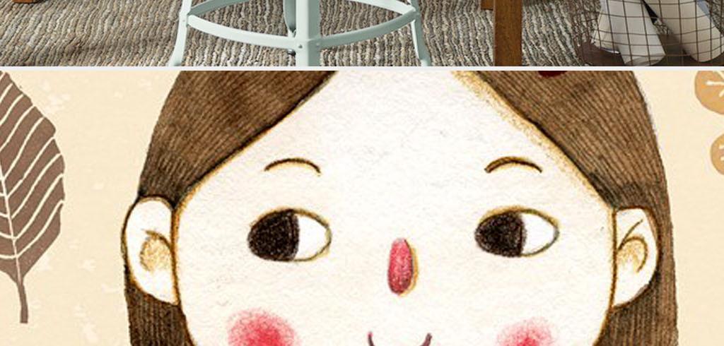 北欧风格简约手绘彩色甜美小女孩装饰画