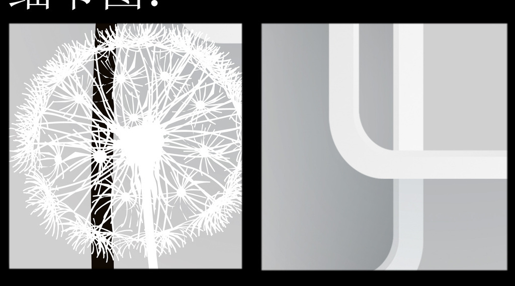 3d立体圆角框黑白蒲公英电视背景墙壁画