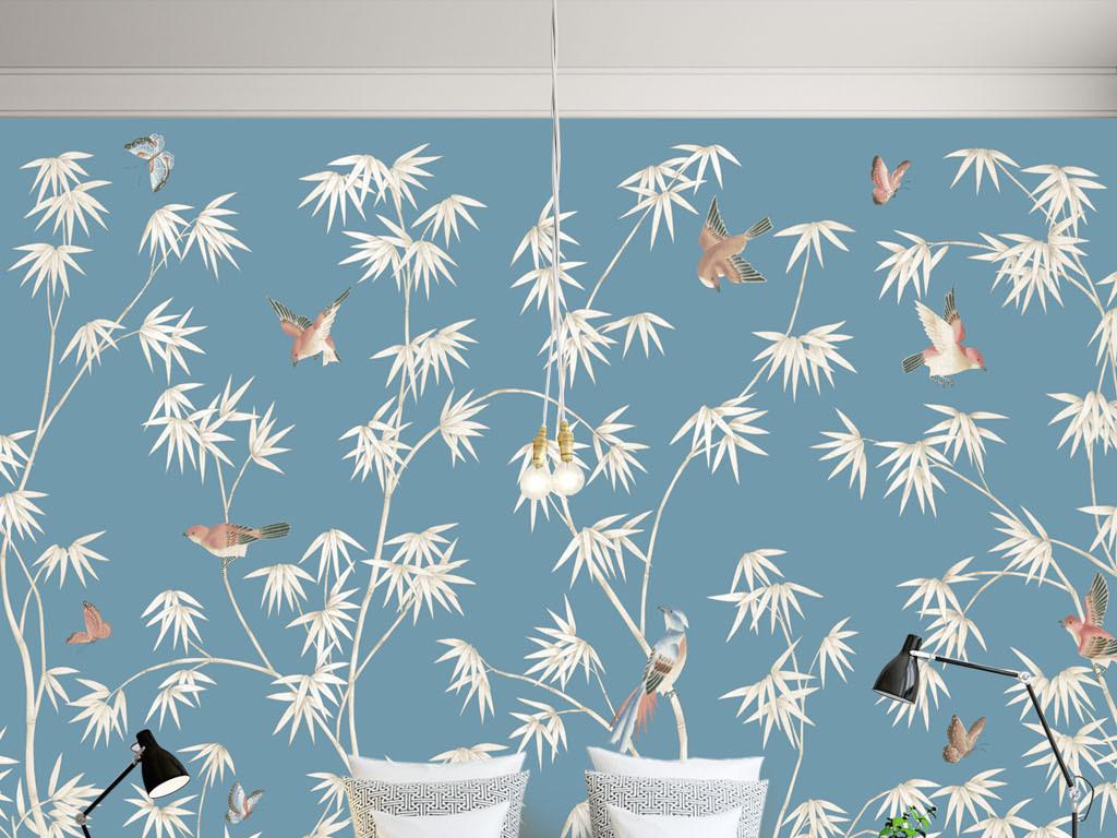 电视背景墙手绘花鸟竹林壁画