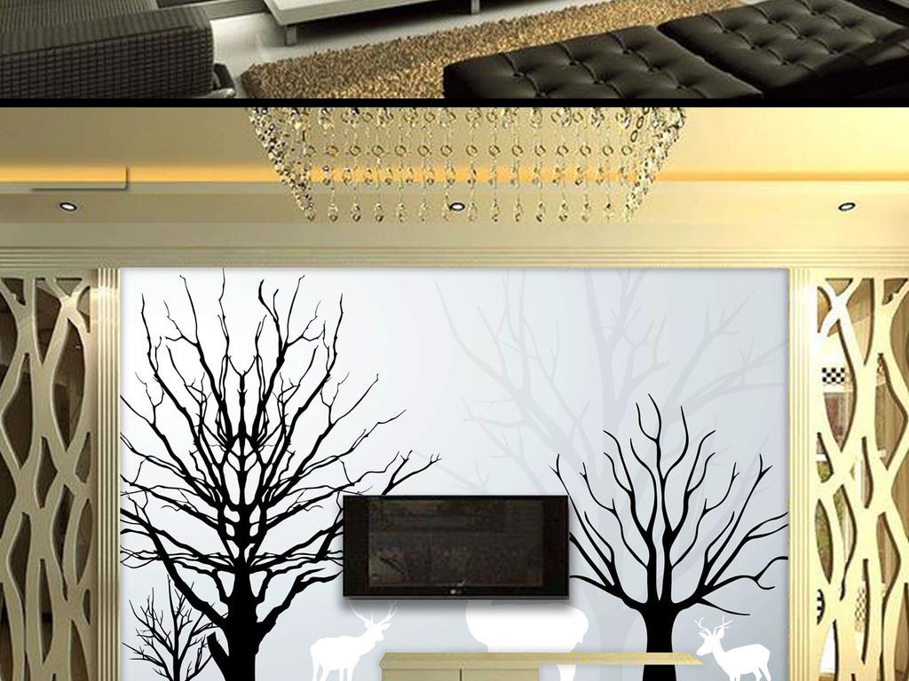 现代树木梅花鹿背景墙壁画效果图(图片编号:14965228)图片