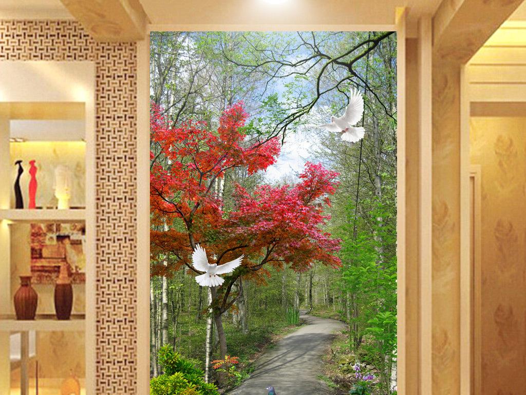 3d唯美森林阳光小路玄关背景墙