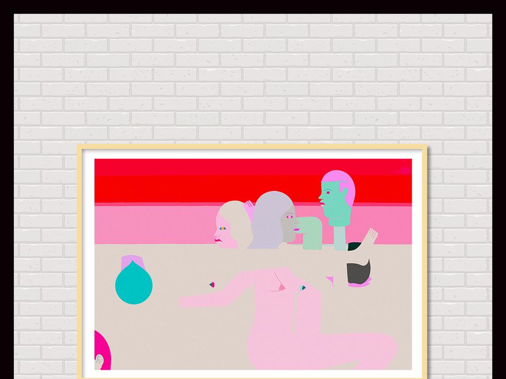 现代艺术人体抽象画