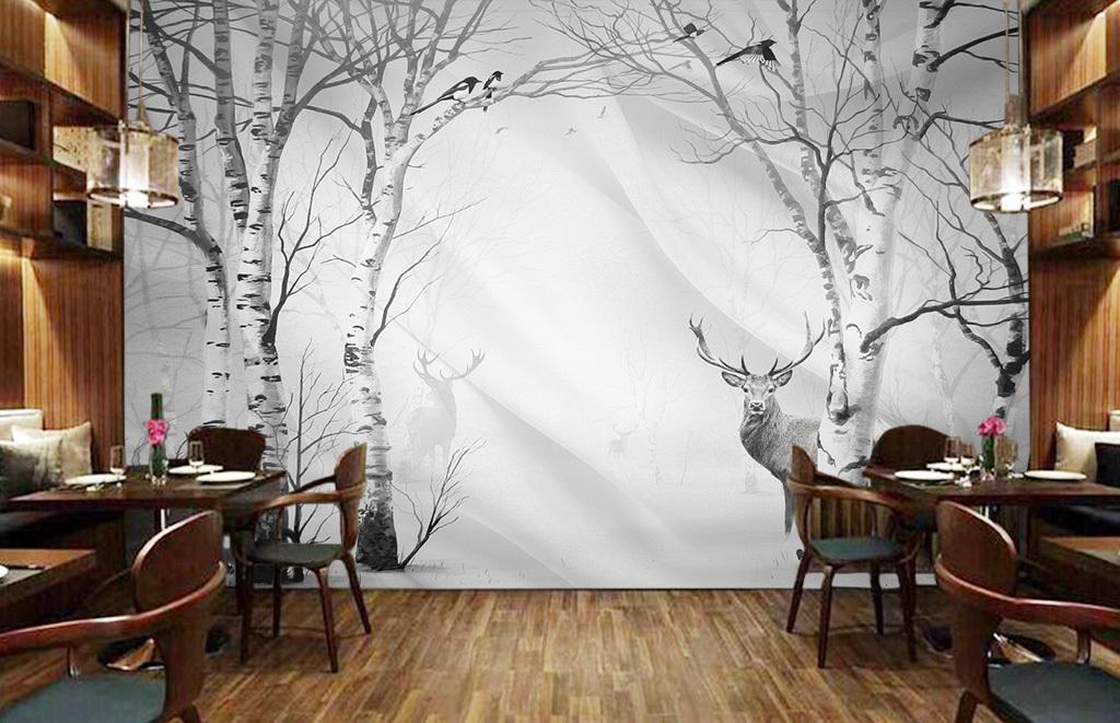 手绘白桦白桦树白杨抽象树抽象树林树木酒吧公鹿驯鹿麋鹿梅花鹿鹿黑白