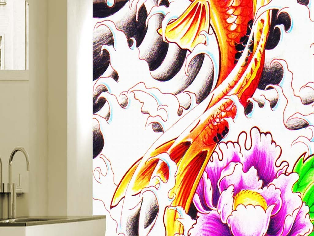手绘日式锦鲤鲤鱼油画玄关装饰画